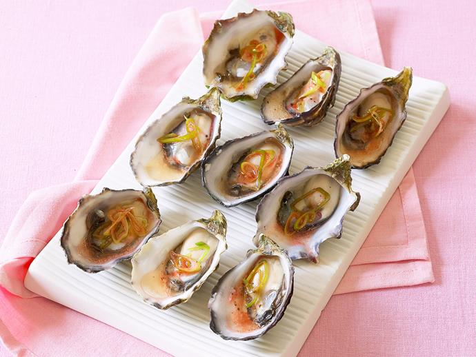 """[Oysters with red wine vinaigrette](https://www.womensweeklyfood.com.au/recipes/oysters-with-red-wine-vinaigrette-6378