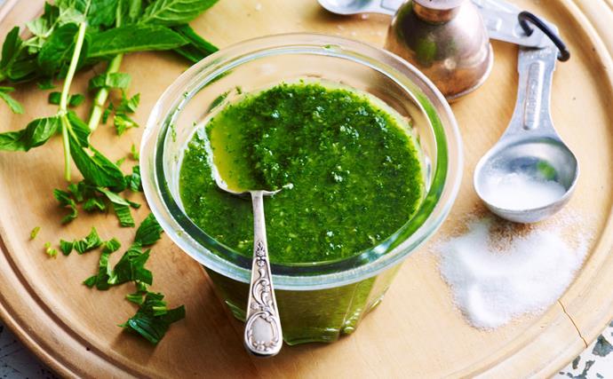 Homemade mint sauce