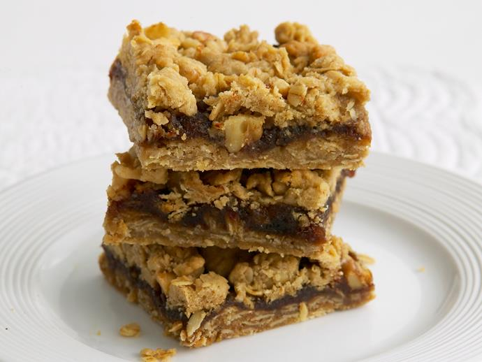 """This [delicious date slice](https://www.womensweeklyfood.com.au/recipes/date-and-oat-crumble-slice-26413