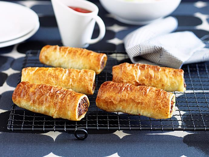 "**[Homemade sausage rolls](https://www.womensweeklyfood.com.au/recipes/homemade-sausage-rolls-15607|target=""_blank"")**  Perfect as an after-school snack, or to meet those bottomless appetites during the school holidays."