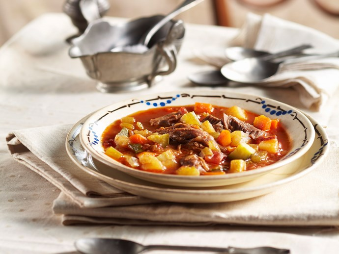 Winter lamb shank and vegetable soup