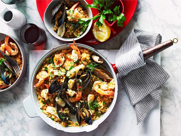 """**[Seafood risotto](https://www.womensweeklyfood.com.au/recipes/seafood-risotto-15851