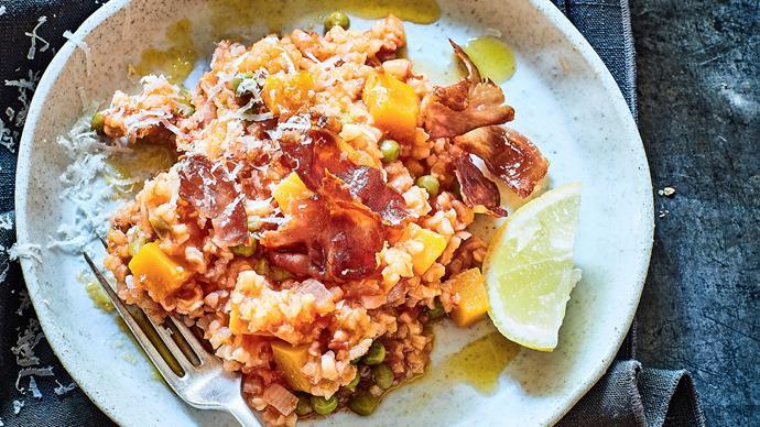 Pumpkin, pea, prosciutto and pecorino rice