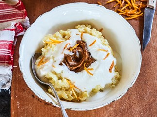 Orange cardamom rice pudding with dulce de leche