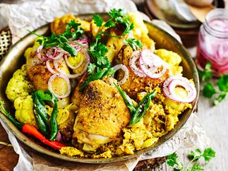 Turmeric yoghurt chicken and cauliflower