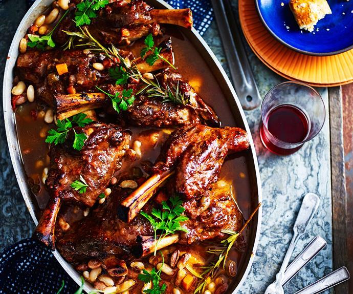 Lamb shank and bean ragu