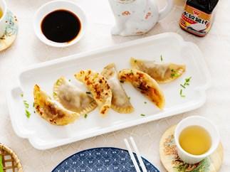 Pork and chive potsticker-style dumplings