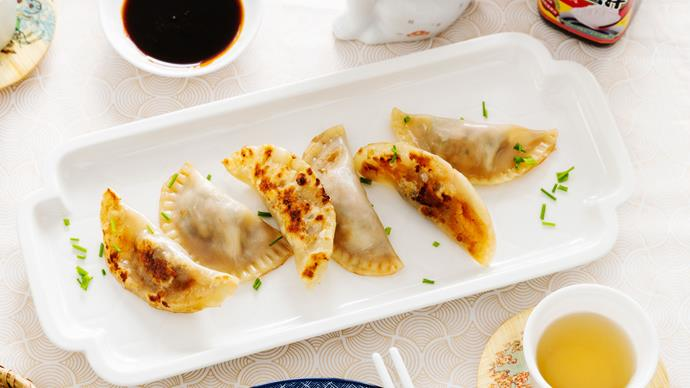 Pork and chive potsticker-style dumplings