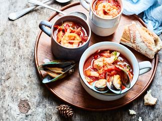 Smoky tomato seafood soup