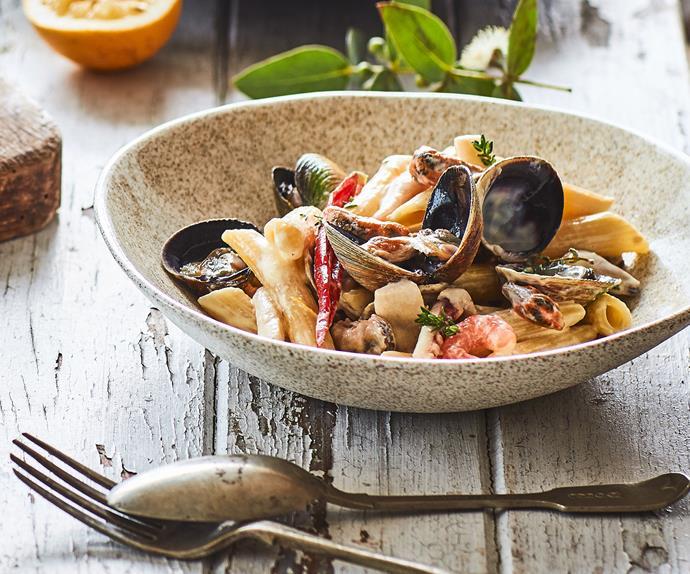 Creamy saffron seafood pasta