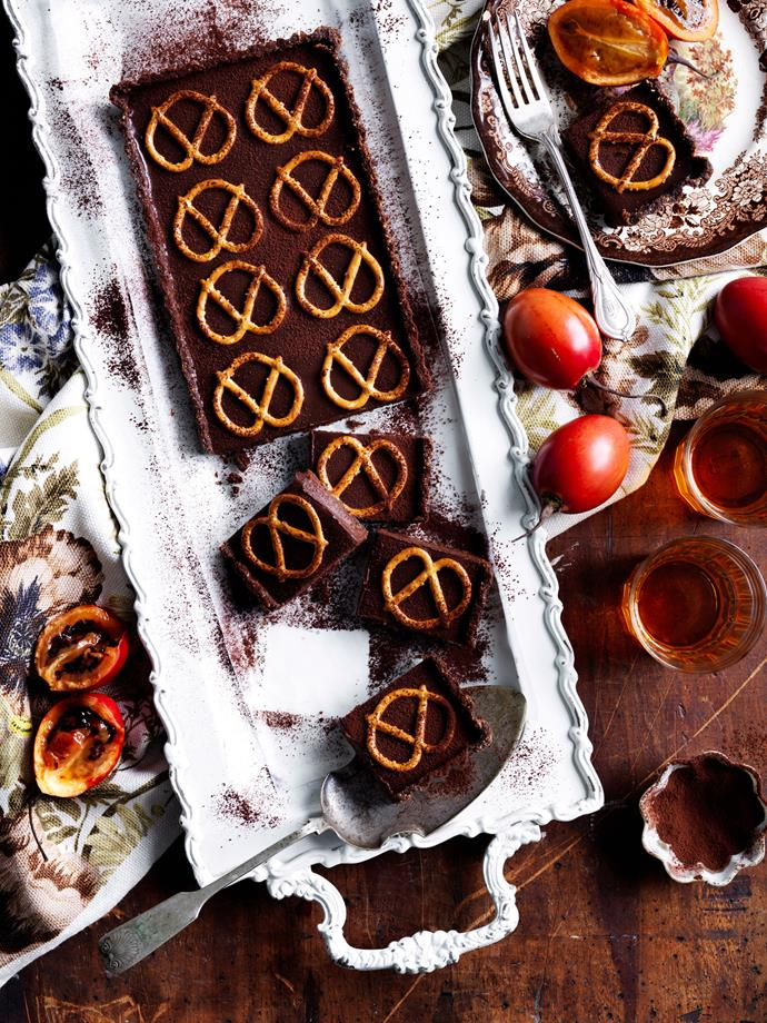 "**[Chocolate and pretzel tart](https://www.womensweeklyfood.com.au/recipes/chocolate-and-pretzel-tart-9031|target=""_blank"")**  This divine chocolate tart combines rich sweetness with salty crunch to create a flavour and texture sensation."