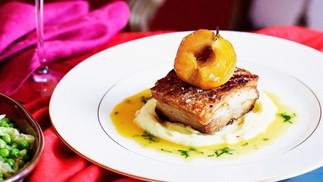 Roast pork belly with caramelised apples