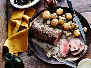 Whole roasted scotch fillet with crispy potatoes