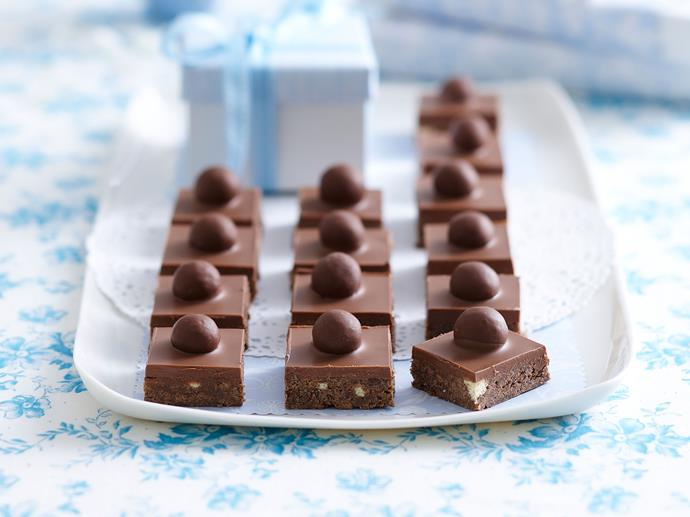 "Chocolate lovers unite with this decadent [Malteser slice](https://www.womensweeklyfood.com.au/recipes/malteser-slice-28838|target=""_blank""). Rich, sweet and delicious - it's sure to have you running back for more!"