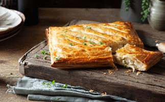 Crispy fish pie with capers
