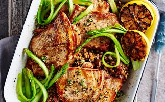 PORK STEAKS WITH SAUTEED LENTILS