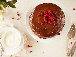 Chocolate cake with fudgy yoghurt frosting