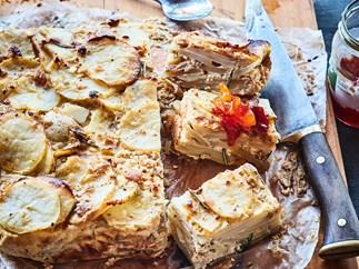 Potato, caramelised onion and feta frittata