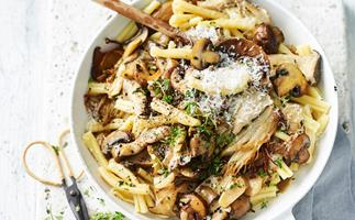Mushroom and lemon thyme pasta with burnt butter