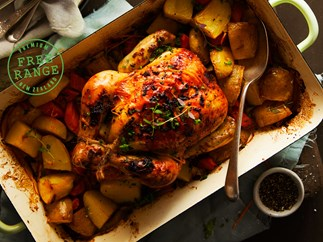 Roast chicken with fennel and orange