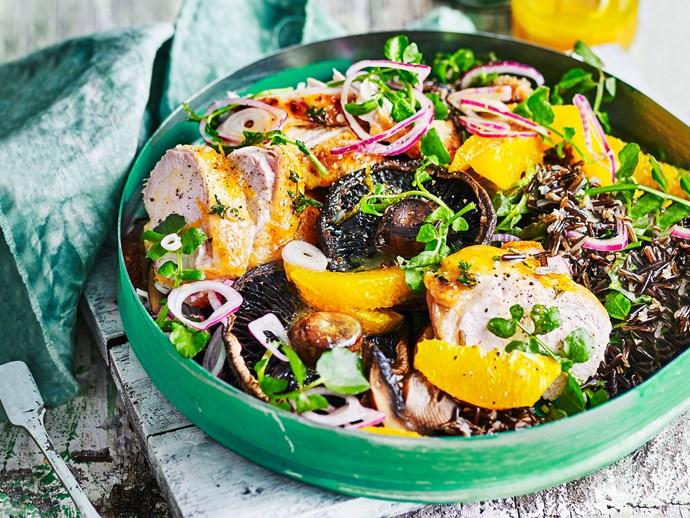Wild rice, chicken and mushroom salad