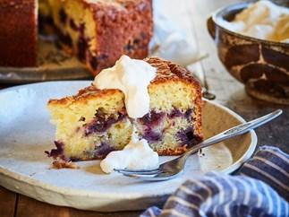 Lemon and blueberry yoghurt cake