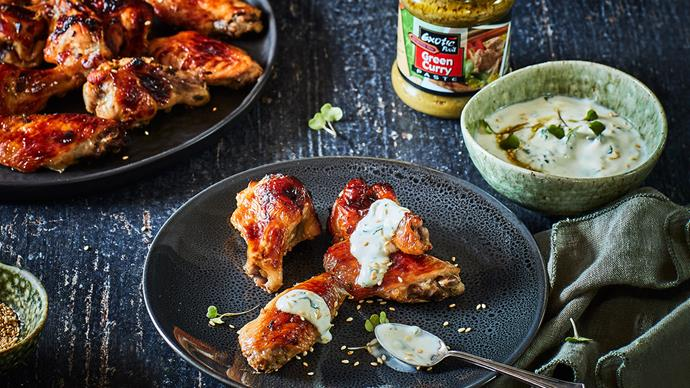 Green curry yoghurt dip with sticky chicken nibbles