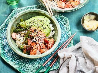 Avocado, asparagus and salmon donburi