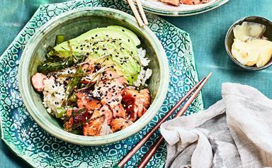 Avocado, asparagus and salmon donburi