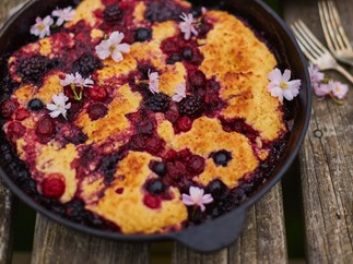 Berry and coconut cobbler