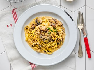Rustic mushroom, thyme and parmesan cream pasta