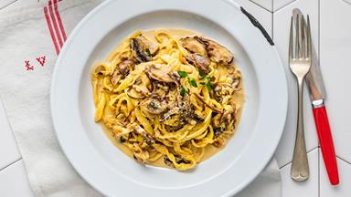 Rustic mushroom, thyme and parmesan cream pasta