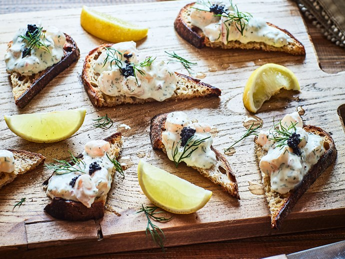 Swedish toast Skagen (prawn toasts)
