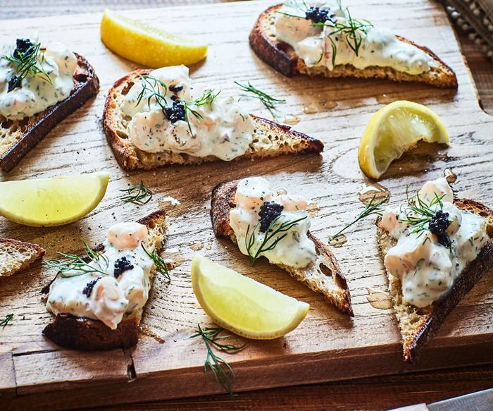Swedish toast Skagen (prawn toasts)