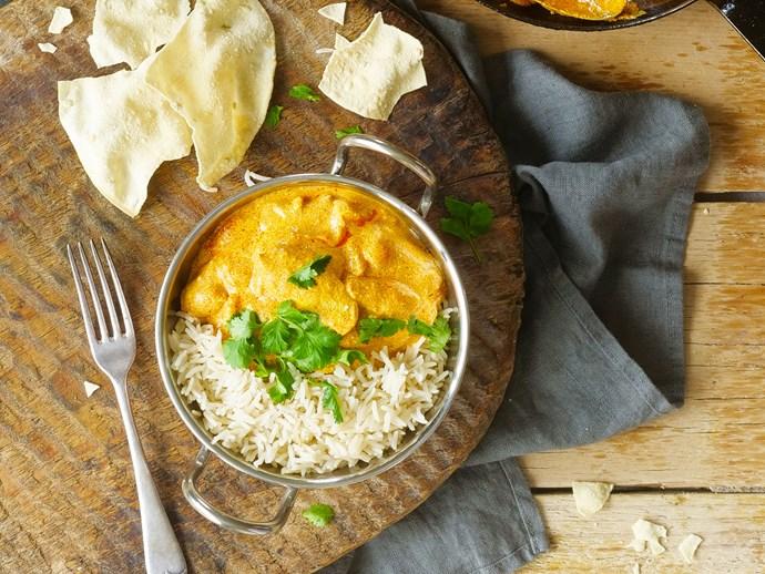 Chicken tikka masala with basmati rice