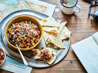 Egyptian ful medames (bean dip) with flatbreads