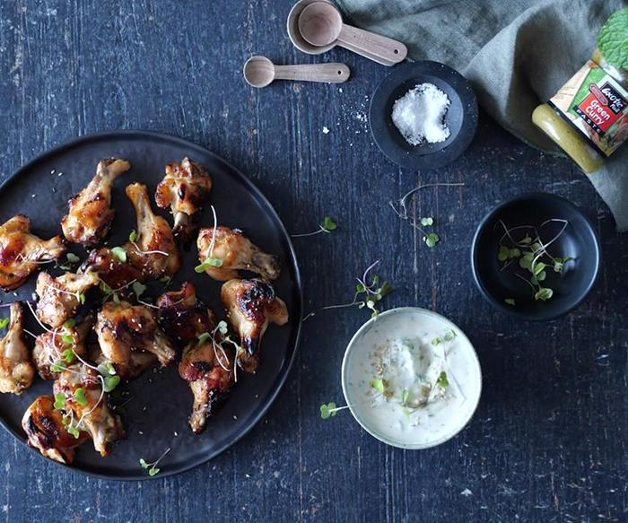 Curry yoghurt dip with sticky chicken nibbles