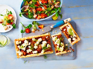 Leek tart with panzanella salad