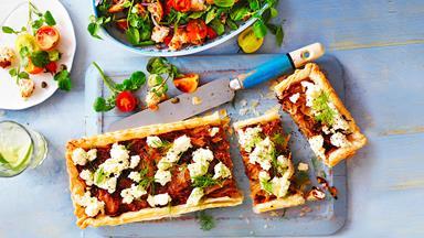 Leek tart with panzanella salad