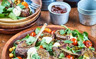 Spiced lamb cutlets with crispy chickpeas