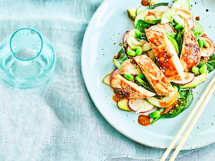 Miso and lemon-glazed chicken with Japanese sesame spinach and avocado salad