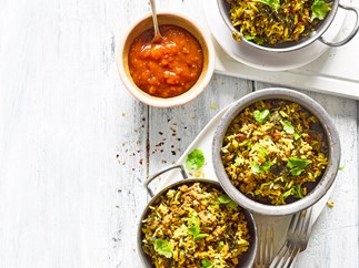 Lamb and silverbeet biryani-style one pan