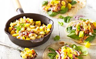 Pulled pork tacos with spicy banana salsa