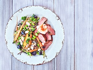 Moroccan lamb salad with roast carrots and grape bulghur