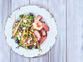 Moroccan lamb salad with roast carrots and grape bulghur