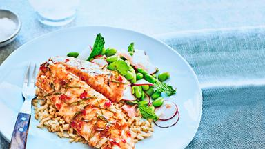 Lime and chilli-glazed fish with salad and brown rice