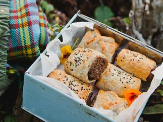 Lentil, herb and mushroom rolls