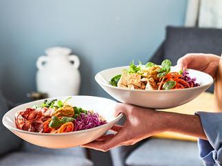 Nourish bowl with pumpkin hummus