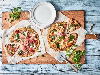 Quinoa pizza with two toppings
