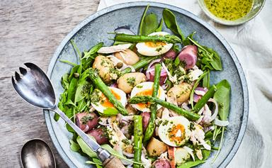 Asparagus, chicken, egg and new potato salad with herb dressing